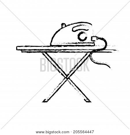 figure iron electrical object and ironing board vector illustration