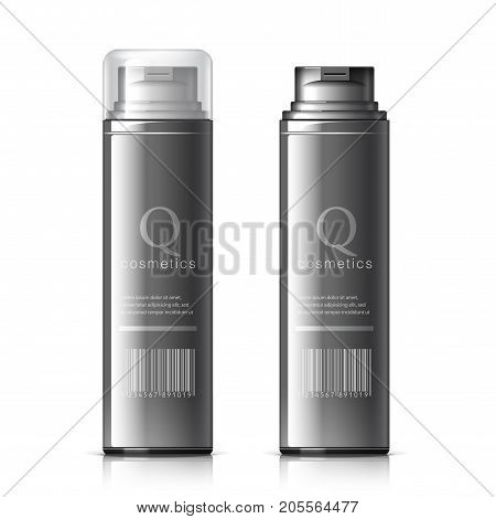 Realistic Black Shaving Foam Aerosol. Cosmetics bottle can Spray Deodorant Air Freshener. With lid. Object shadow and reflection on separate layers. Vector illustration