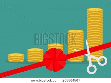 Scissors cut red ribbon bow. Business beginnings. Gold coin stacks icon diagram. Dollar sign symbol. Cash money. Going up graph. Income and profits. Growing concept Green background Flat design Vector
