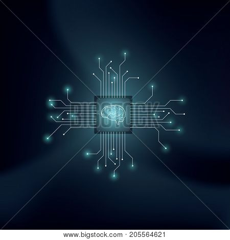 Artificial intelligence or AI vector concept with human brain on technological background. Symbol of machine learning, neural networks, programming, futuristic technology concept. Eps10 vector