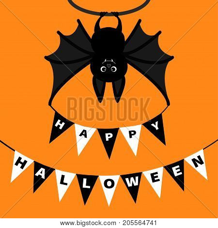 Bat hanging. Bunting flags pack letters. Flag garland. Happy Halloween paper card. Cute cartoon character Big wing ears. Black silhouette. Forest animal. Flat design Orange background Isolated Vector