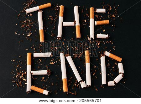 The End Of The Letters From Cigarettes Isolated On Black