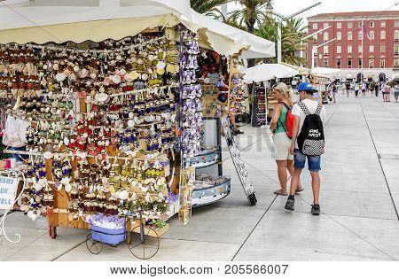 SPLIT, CROATIA - 13 JULY, 2017: Souvenir shop on the street Split