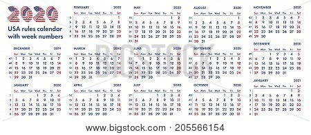 2020 calendar grid american rules with weeks numbers vector illustration isolated on white background. For english quarterly templates design or calendar pages.