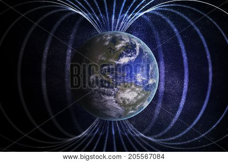 Magnetosphere Or Magnetic Field Around Earth. 3D Rendered Illust
