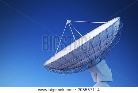 Satellite Dish Or Radio Antenna Against Blue Sky. 3D Rendered Il