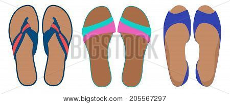 Pairs Of Flip Flops And Shoes, Leather Slippers, Summer Time Vacation Attribute, Slippers, Shoes, Ve