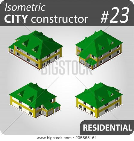 Isometric residential buildings. Illustration of urban or rural houses and dwellings. For your infographic, city, map or business design. Detailed vector clip art with easy editable colors.