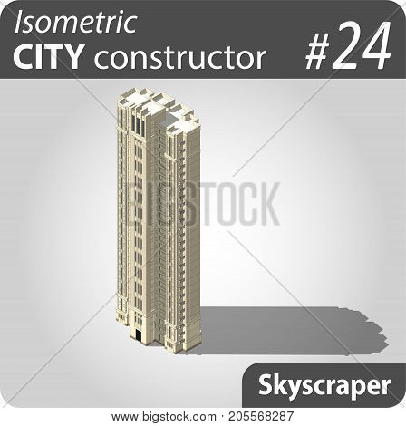 Isometric residential building - skyscraper. Illustration of urban or rural houses and dwellings. For your infographic, city, map or business design. Detailed vector clip art with easy editable colors