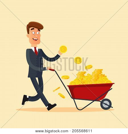 Happy businessman in grey suit pushing red cart full of money and holding gold coin in hand. Wheelbarrow with money. Business and finance concept. Stock vector illustration in flat style.