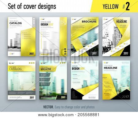 Set of business cover design template in yellow color for brochure, report, catalog, magazine or booklet. Creative vector background concept