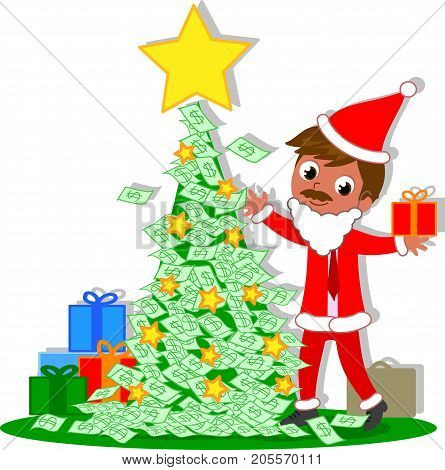 Manager Santa Claus with rich Christmas tree made of money notes, vector illustration