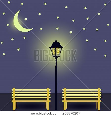 Two Benches Illuminated By Street Lamp And The Moon. Benches In Light. Night Urban Landscape. Vector