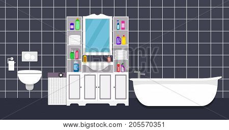 Modern Bathroom Interior Vector Illustration In Flat Style. Bathroom With Toilet, Bathtub, Mirror, S