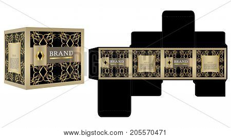 Packaging design, black and gold luxury box design template and mockup box. Illustration vector