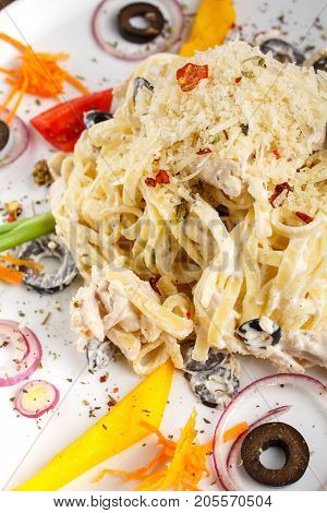 pasta, alfredo, dinner and food concept - Alfredo pasta