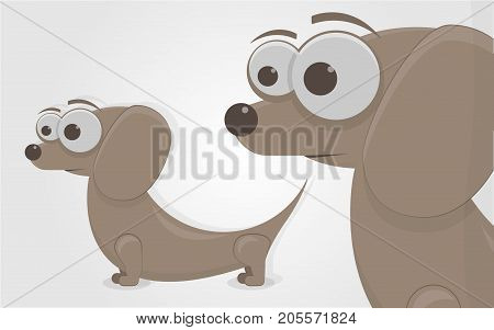 Cartoon character. The funny little dog. Isolated on white background.