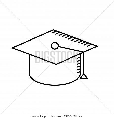 line cap graduation to ceremony sucess vector illustration
