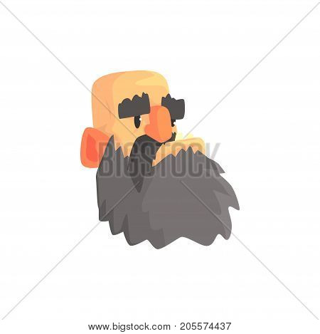 Bald man head, brutal male bearded face cartoon character vector illustration isolated on a white background