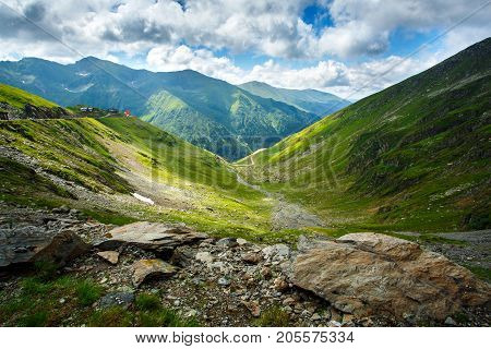 Mountain landscape. Carpathian Mountains in Romania. Cliffs nearby Transfagarasan road. High mountain peaks. Artistic picture. Romania. Carpathian Mountains. Place for active recreation and hiking