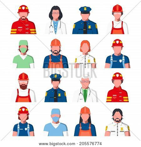 Working People Avatars. Portraits of Public Services Staff - Ambulance, Fire Guard and Police. Icons of Policeman, Fireman, Doctor, Rescuer and Engineer in Flat Style. Men and Women. Vector Illustration.