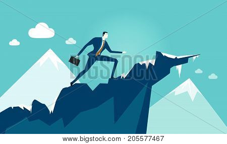 Businessmen walking to the top of mountain. Professional success, opportunity, taking a risk concept illustration.