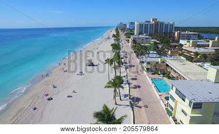 Hollywood beach in Florida, USA. Aerial view