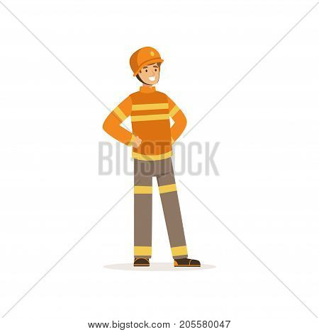 Fireman character in uniform and protective helmet, firefighter at work vector illustration isolated on a white background