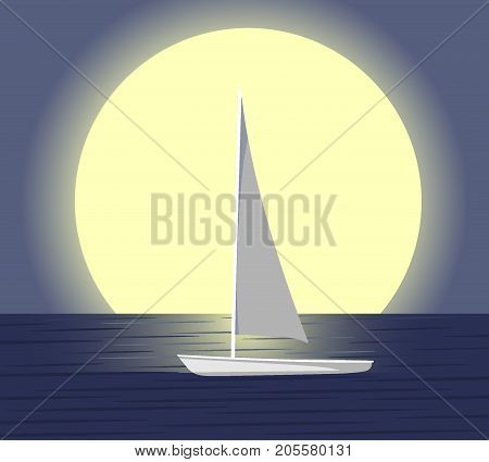 Vector Illustration Of The Ship Silhouette On The Horizon Against The Setting Sun. Stylized Sunset S
