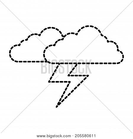 cloud sky with electric storm ray vector illustration design