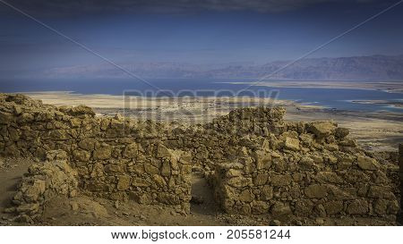 view at Dead Sea from top of Herod the Great palace - Masada located in the Judean Desert