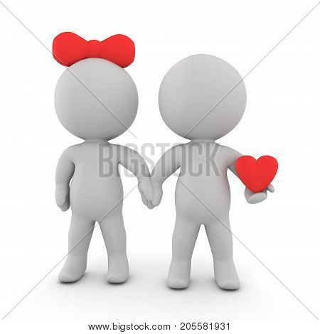 3D illustration of romantic couple with one of them holding a heart. Isolated on white.
