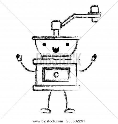 coffee grinding with crank in front view cartoon monochrome blurred silhouette vector illustration