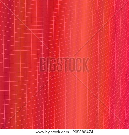 Red dynamic abstract geometrical grid background - vector graphic design from curved angular striped grid