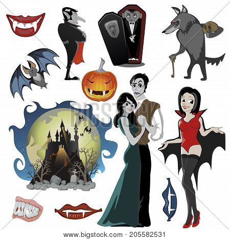 Halloween set with vampire and their castle under full moon and cemetery, Draculas monster in coffin flat, the bat and werewolf vector illustrations, vampire couple in love, pumpkin