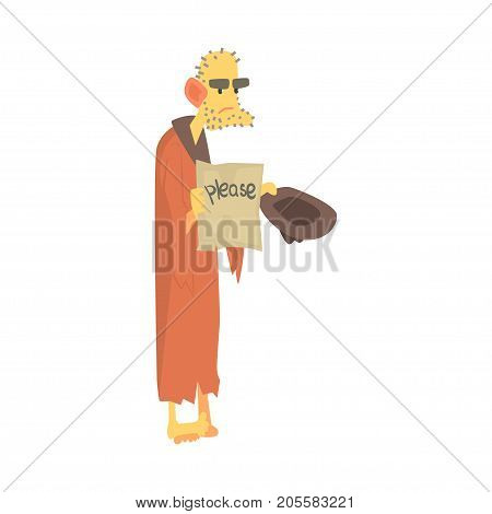 Unhappy homeless man character in ragged clothes standing on the street with hat for money, unemployment person needing help vector illustration isolated on a white background