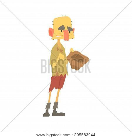 Dirty homeless man character in ragged clothes standing on the street with hat for money, unemployment person needing help vector illustration isolated on a white background