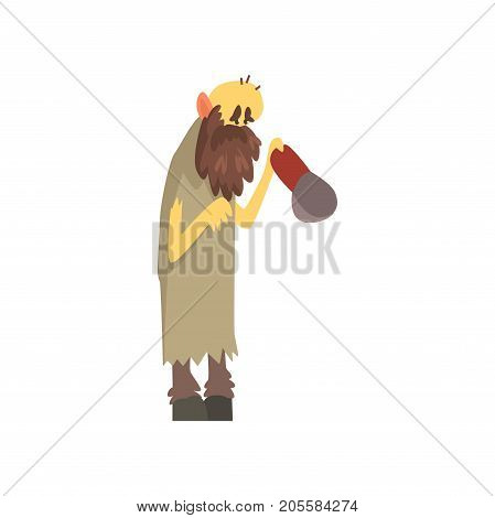 Homeless man character in dirty rags standing on the street with cap for money, unemployment male beggar needing help vector illustration isolated on a white background