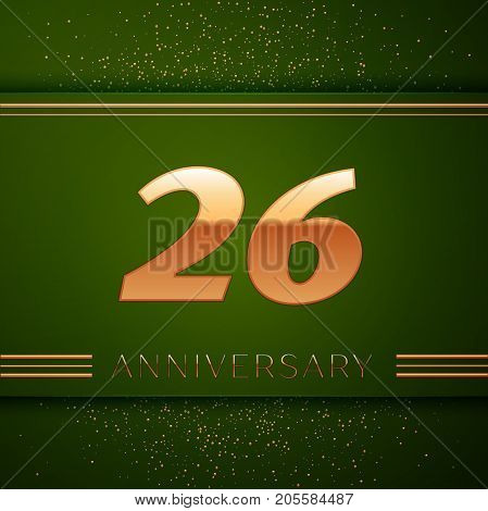 Realistic Twenty six Years Anniversary Celebration Logotype. Golden numbers and golden confetti on green background. Colorful Vector template elements for your birthday party