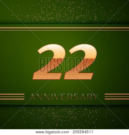 Realistic Twenty two Years Anniversary Celebration Logotype. Golden numbers and golden confetti on green background. Colorful Vector template elements for your birthday party