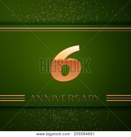 Realistic Six Years Anniversary Celebration Logotype. Golden numbers and golden confetti on green background. Colorful Vector template elements for your birthday party