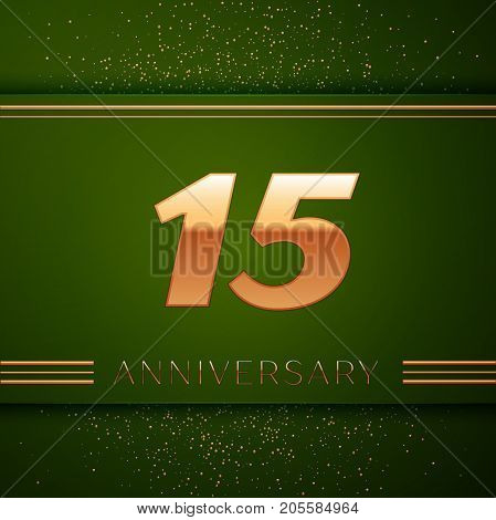 Realistic Fifteen Years Anniversary Celebration Logotype. Golden numbers and golden confetti on green background. Colorful Vector template elements for your birthday party