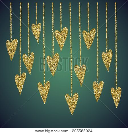 A glamour brilliant jewelry gold glittering hand drawn heart symbol. Elegant decoration of love icon. A small scattering gold circles