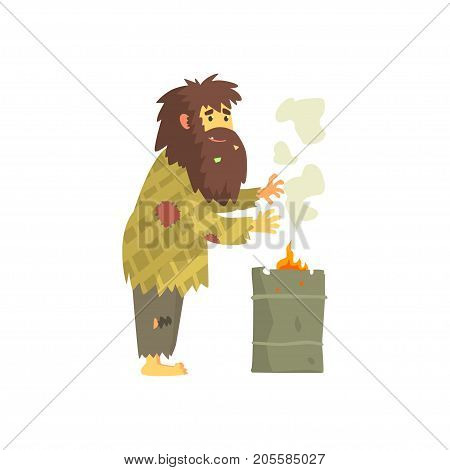 Dirty homeless man warming himself near the fire, unemployment people needing help vector illustration isolated on a white background