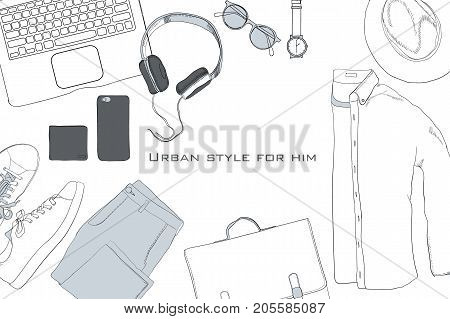 Vector illustration of Hand drawn, doodle flat lay coordination. folded shirt, tie, trousers, shoes, spectacles and belt. Male clothes collage. Top views. Template for blogger, social media,