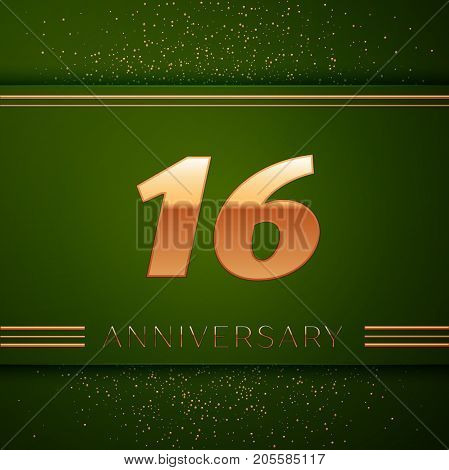 Realistic Sixteen Years Anniversary Celebration Logotype. Golden numbers and golden confetti on green background. Colorful Vector template elements for your birthday party