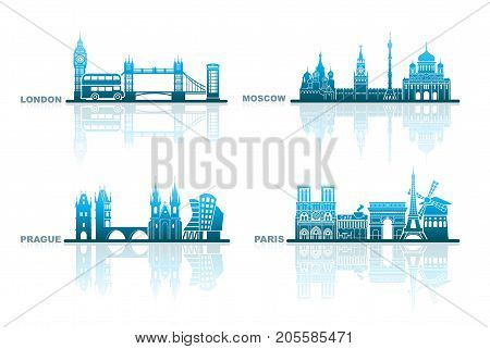 Abstract cityscapes of London, Paris, Prague and Moscow