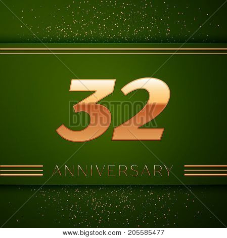 Realistic Thirty two Years Anniversary Celebration Logotype. Golden numbers and golden confetti on green background. Colorful Vector template elements for your birthday party