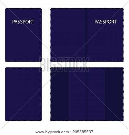 Dark Blue Leather Passport Cover, Open And Closed, With White Stitching Along The Contour