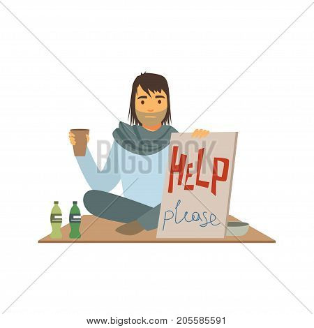 Homeless man character holding signboard asking for help, unemployment man needing help vector illustration isolated on a white background